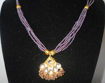 Gorgeous Purple Glass Mini Beads Bali Pendant******.