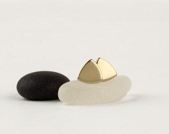 14k gold stud earrings, gold geometric earrings, minimalist stud earrings, yellow gold earrings, triangle studs