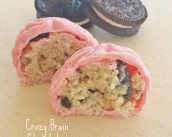 Chocolate Brains FIlled with Oreo Rice Krispie Treats (12) - Birthday - Wedding - Zombie – Chocolate