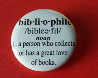 Bibliophile Lover of Books Definition Pinback Button
