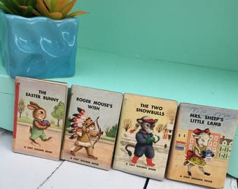 Vintage 1940s Tiny Golden Books, Set of Four, 1940s Miniature Children's Book Set, 1940s Rare Children's Book Set, 1940s Collectible Books
