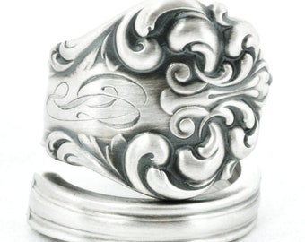 Antique Spoon Ring, Rococo Jewelry, Spoon Ring Sterling Silver, Reed and Barton L'Elegante / Elegante Handcrafted Gift, Adjustable Ring 6340