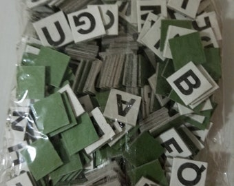 Unopened Package 1950s Anagrams Letter Tiles black and white