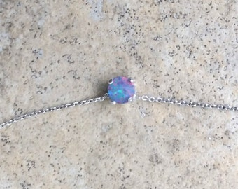 Genuine Opal (October Birthstone) 5mm doublet choker necklace in Sterling Silver or Gold