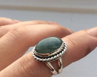 Sterling silver ring with green aquamarine