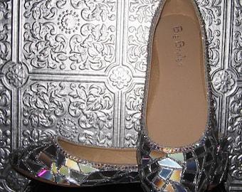 broken mirror shoes/ silver flats/ disco ball flats/holiday party shoes/ silver glitter ballet flats/ hologram shoes/ rhinestone flats