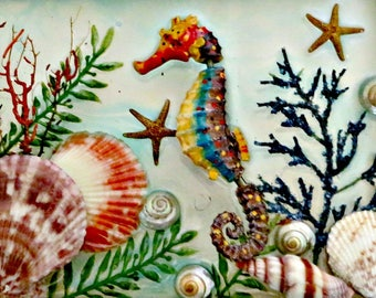 Resin art frame_ Under the sea shells and seahorse wall decor_beach home wall decor