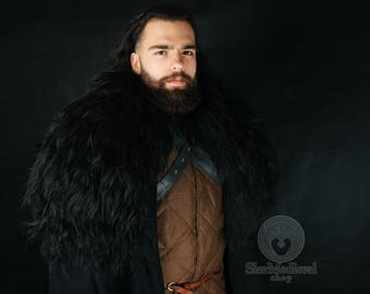 Jon Snow Cloak Game of Throne, costume cosplay heavy black cotton with natural sheepskin SCA LARP