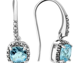 Cushion Cut Blue Topaz and Diamond Halo Dangle Earrings in .925 Sterling Silver