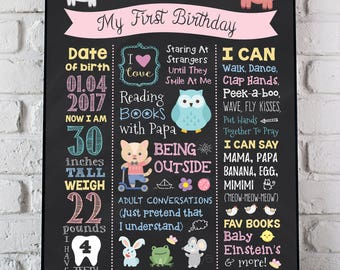 Farm Animals First Birthday Poster, Barn Animals Birthday Chalkboard, Animals Birthday Sign, Animals 1st Birthday Sign, Birthday PRINTABLE