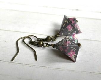 Origami Bell Earrings // Pink Flowers