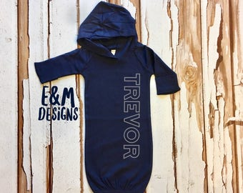 Navy and Gray Newborn Hooded Gown, Baby Boy Coming Home Outfit, Newborn Gown, Monogrammed Boy Outfit, Baby Boy Take Home