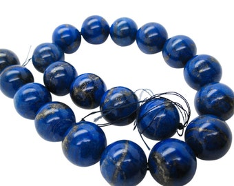 Lapis Lazuli, AAA Grade Lapis Beads, 18mm Smooth Round, Full Strand, SKU 5113A