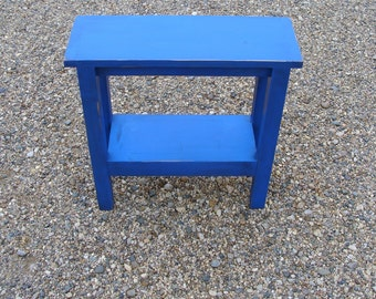 End Table, Side Table, Narrow Table, Wood Table, Night Stand, Table with Shelf, Shabby Distressed Cobalt Indigo Blue Custom