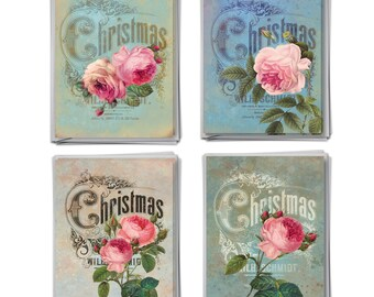M5156XSG-B3x4 Christmas Roses: 12 Asst. Christmas Cards Featuring Images of Eye-Popping Flowers Overlaid on CHristmas FLiers, w/ Envelopes.