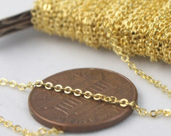 Gold Plated Chain Bulk Chain, 10 ft of Tiny Flat Soldered Necklace Wholesale Cable Chain - 2x1.4mm - Free Adequate Jumpring 50pcs