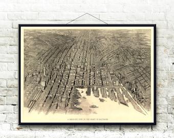 Baltimore Maryland 1912 Bird's Eye View Map  Fine Art Print
