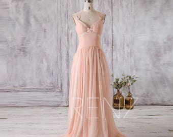 Bridesmaid Dress Peach Chiffon Dress,Wedding Dress,Criss Cross Straps Maxi Dress,Ruched V Neck Prom Dress,Backless A-line Formal Dress(F123)