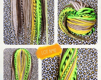 35 double Dreads. Blond, Brown, yellow, neon yellow and black. Dreadlocks. Dreadovore
