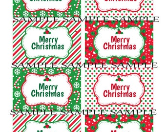 Super Cute Red, White and Green Christmas Tags perfect for your Holiday party, Christmas gift tags, Labels, teacher gifts,  DOWNLOADABLE!!