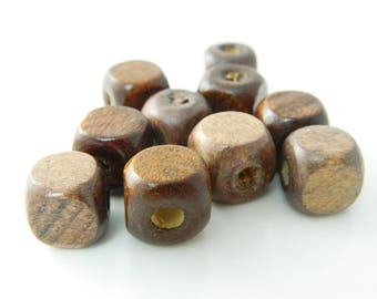 bead lot square wood Brown 12mm x 10 (l195)
