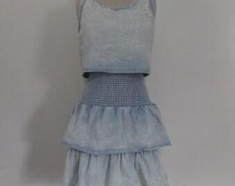 E-Vous Tiered Ruffle Denim Dress | Vintage 80's 90's