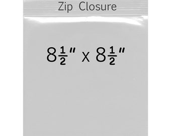 50 - 8.5 x 8.5 inch Clear Zip Lock Bags -  2 Mil - Square Polypropylene Bags - Archival