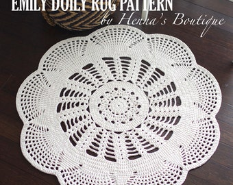 "Crochet Doily Rug Pattern - ""EMILY"" 37 inch rug - PDF"