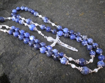 Classic Rosary - Sodalite with Mother of Pearl