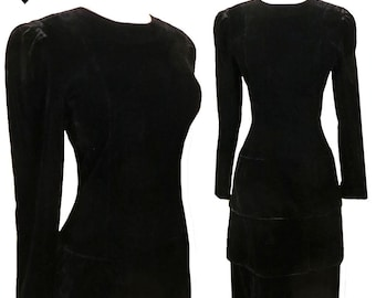 Vintage 80s Dress / 80s Prom Dress / 80s Party Dress / S SMALL M Medium Black Velvet Tiered Tiers Cocktail Dance Long Sleeves Goth Gothic