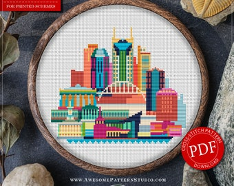 Nashville Cross Stitch Pattern for Instant Download *P103 | Easy Cross Stitch| Counted Cross Stitch|Embroidery Design| City Cross Stitch