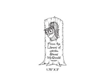 Mothers Day Sale Owl In a Tree Stump Personalized Ex Libris Bookplate Rubber Stamp M13