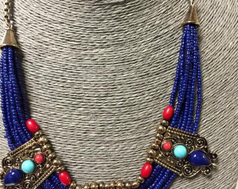 Antique Bedouin  BLUE LAPIS  and Gold -Tone 20''