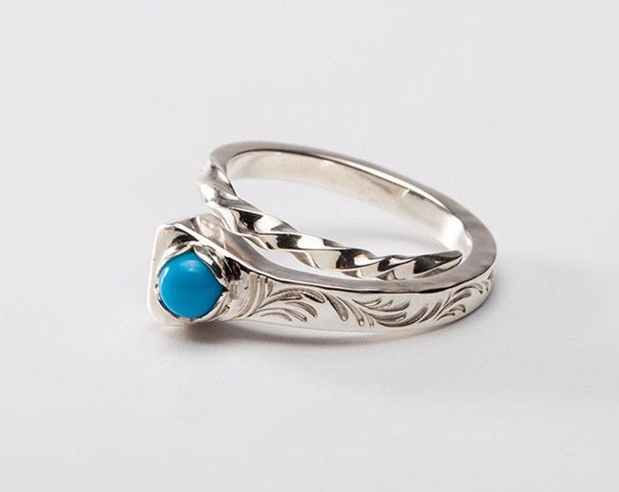 Horseshoe Nail Ring | Silver Nail Ring | Good Luck Ring | Prairie Diamond Ring | Silver Wrap Ring | December Ring | Engraved Silver Ring