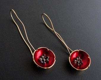 Flower earrings, poppy earrings, statement jewelry, enamel jewelry, mother gift for women, flower earrings, statement earrings