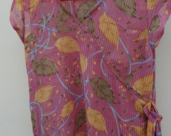 Muted Tones Rose Mauve with Leaves Asian Inspired Women's Summer Shirt - Nadine F628