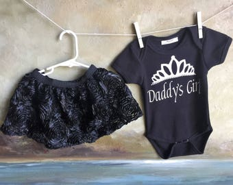 Daddy's Girl 12-18 months old Black Onesie and rose lace skirt, Handmade. Embellished with pearl beads.