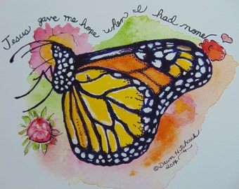 ORIGINAL, Watercolor Butterfly, Butterfly Painting, Butterfly Verse, Butterfly Art, Gift For Her, Inspirational Quote, Bold Colors,Butterfly