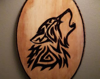 Wood burning wolf pyrography