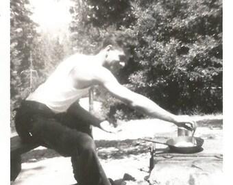 "Vintage Snapshot ""Fish Fry"" Cooking Camping Fry Pan Handsome Man Found Vernacular Photo"
