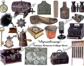 Digital Collage Sheet~ Antique Elements~ ATC~ Background~ Ephemera~ Instant Download