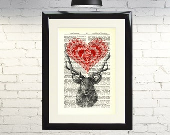 Dictionary Art Print Stag with Mandala Heart Framed Vintage Poster Picture Handmade Original Artwork Book Page Home Decor Gift