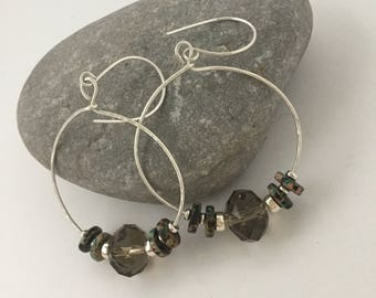 Erika Shades of nature beaded & sterling silver hoop earrings
