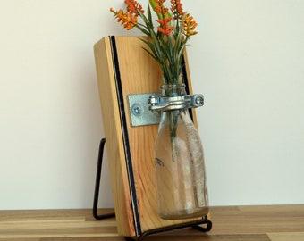 Reclaimed Wooden Wall Vase w/Vintage Bottle  6404 Woodward Ave