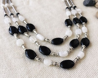 Black Onyx and  white Rainbow  semi precious stone necklace