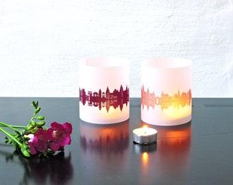 Lantern ASCHAFFENBURG city light, 2 Tablelight, for Aschaffenburg Lovers, Honeymoon in Aschaffenburg, romantic candlelight, City Shade