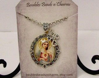 Mary Immaculate Heart Pendant Necklace, Religious Necklace Jewelry, Sacred Heart of Mary Necklace, Christian Necklace, Catholic Jewelry
