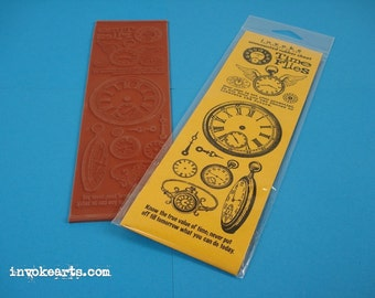 Time Flies / Invoke Arts Collage Rubber Stamps / Unmounted Stamp Set