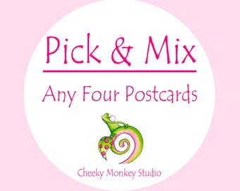 Pick Any 4 Postcards, Kids party invites, Cute stationery, Thank you card, Baby Nursery Decor, New Baby Boy Gift, Animal Wall Art Girl Room