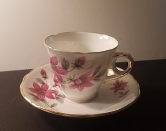 2 pc Royal Kent Bone China Teacup and Saucer set/Pink Flower Gray Leaves/Gold Rim/Tableware/Collectibles
